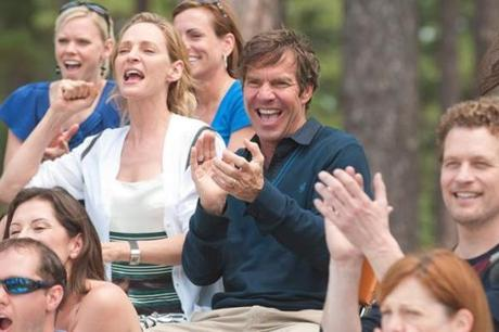 Uma Thurman (left, with Dennis Quaid) plays a soccer mom.